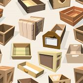 Box Package Wooden Empty Drawers And Packed Boxes Or Packaging Crates With Wood Crated Containers Fo poster