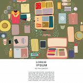 Top View View Luggage Round Shape Composition. poster