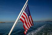 Usa Flag On Sea At San Francisco,usa poster