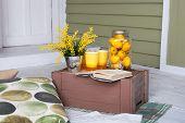 Lemonade. Breakfast On The Cozy Veranda. Homemade Lemonade On The Porch On A Hot Day. Summer Country poster