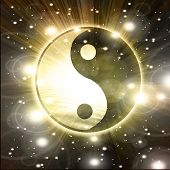stock photo of ying yang  - Yin Yang sign on a black background - JPG