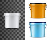 Bucket Or Pail Vector Mockups With Plastic Packages Of Paint Or Finishing Building Materials. Blank  poster