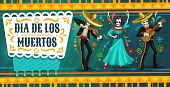 Day Of The Dead Mexican Fiesta Party With Dancing Skeletons. Dia De Los Muertos Religion Holiday Vec poster