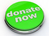stock photo of deed  - green donate now button with chrome over white Background - JPG
