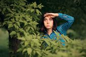Funny Curious Jealous Woman Spying From Bushes poster