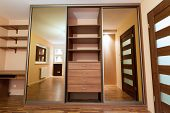 image of wardrobe  - Modern apartment interior with huge wardrobe - JPG