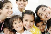stock photo of preteens  - Group of happy children - JPG