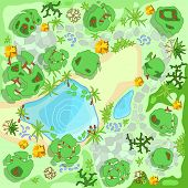 Site Improvement  Landscape And Tourist Camp In The Forest. (top View) Pond, Stones, Trees, Plants,  poster