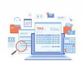Tax Payment. State Government Taxation, Calculation Of Tax Return. Tax Form, Financial Calendar, Mag poster
