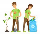 Man Holding Shovel, Male Seedling Plant, Vounteer Woman Activist Putting Bottle In Bag, Environment  poster