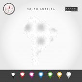 Dots Map Of South America. Simple Silhouette Of South America. Realistic Vector Compass. Set Of Mult poster