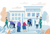 Informational Flyer Nursing Home Building Flat. Poster Group Elderly People Walks Near Nursing Home  poster