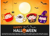 Happy Halloween Party With Group Children Jumping Halloween Costumes Of Paper Art Style, Template Fo poster