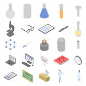 Chemical Laboratory Experiment Icons Set. Isometric Set Of Chemical Laboratory Experiment Vector Ico poster