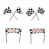Vector Illustration Of Start And Finish Line Banners, Streamers, Arch Gate, Flags For Outdoor Sport  poster