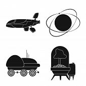 Isolated Object Of Mars And Space Icon. Collection Of Mars And Planet Stock Bitmap Illustration. poster