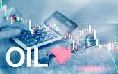Oil Trend Down. Candle Graph Chart Oil Barrels And A Financial Chart On Abstract Business Background poster