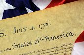 picture of preamble  - Constitution of the United States and American Flag - JPG