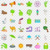 Environment Icons Set. Cartoon Style Of 36 Environment Vector Icons For Web For Any Design poster