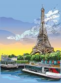 Colorful Vector Hand Drawing Illustration Of Eiffel Tower, Landmark Of Paris, France. Cityscape With poster