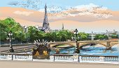 Colorful Vector Hand Drawing Illustration Of Eiffel Tower, Landmark Of Paris, France. Panoramic City poster