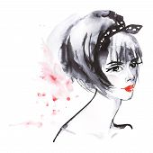 Painting Beauty Asian Woman. Watercolor Fashion Illustration In Anime Style. Hand Drawn Portrait Of  poster