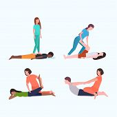 Set Personal Trainers Doing Stretching Exercises With Patients Fitness Instructor Helping Patient To poster