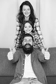 Making Memories. Happy Childrens Day. Bearded Man And Woman With Daughter. Happy Family. Father, Mot poster