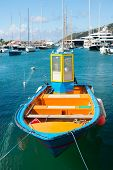 Welcome On The Deck. Sea Journey And Water Entertainment. Bright Boat At Sea Port St.barts Tropical  poster