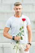 How To Be Romantic. Romantic Gentleman. Man Mature Confident Macho With Romantic Gift. Handsome Guy  poster