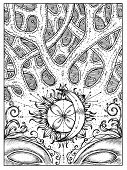 Crossroad. Black And White Mystic Concept For Lenormand Oracle Tarot Card. Graphic Engraved Illustra poster