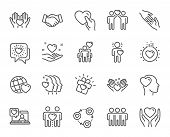 Friendship And Love Line Icons. Interaction, Mutual Understanding And Assistance Business. Trust Han poster