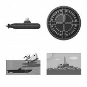 Vector Illustration Of Army And Deep Logo. Collection Of Army And Nuclear Vector Icon For Stock. poster