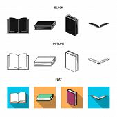 Vector Design Of Library And Textbook Sign. Set Of Library And School Vector Icon For Stock. poster