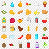 Vegetarian Food Icons Set. Cartoon Style Of 36 Vegetarian Food Icons For Web For Any Design poster