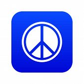 Sign Hippie Peace Icon Digital Blue For Any Design Isolated On White Illustration poster