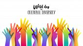 Cultural Diversity Day Illustration Card Of Diverse Human Hands United For Social Freedom And Peace. poster