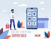 Banner Is Written Online Shopping Super Sale. Screen, Go To Application For Purchase Online Store. M poster