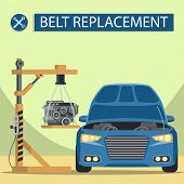 Install Engine Under Hood. Service Station. Auto Service. Open Hood. Car Parts. Automobile Lift. Veh poster