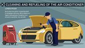 Man Worker Cleans Air Conditioner Yellow Car. Service Station. Auto Service. Worker With Cleaning Fl poster