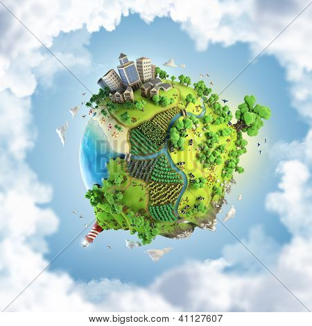 Globe Concept Of Idyllic Green World poster