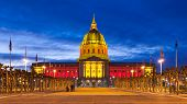 San Franicisco City Hall In Red And Gold poster