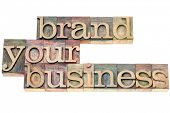 brand your business - marketing concept - isolated text in vintage letterpress wood type printing bl