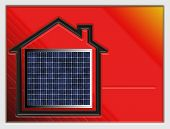 Home Symbol With Solar Panel On A Red Shiny Surface
