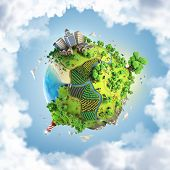 image of orchard  - globe concept showing a green peaceful and idyllic life style in the world in a cartoony style - JPG