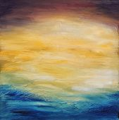 Beautiful abstract textured background of  evening sunset sky over the ocean. Original oil painting
