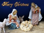 stock photo of merry christmas text  - Image and illustration composition Christmas Nativity scene for card or background with gold text - JPG