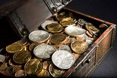 stock photo of treasure chest  - Treasure Chest filled with gold Krugerrands from 