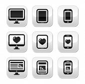 Responsive website design - computer screen, mobile, tablet buttons set
