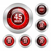 image of countdown timer  - Timer vector icons set isolated on white background - JPG